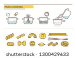 pasta cooking directions. steps ... | Shutterstock .eps vector #1300429633