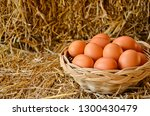 basket of eggs on straw floor | Shutterstock . vector #1300430479