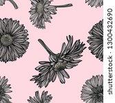 seamless daisy pattern. vector... | Shutterstock .eps vector #1300432690