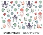 sea world  fish  squid ... | Shutterstock .eps vector #1300447249