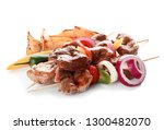 delicious fried meat with...   Shutterstock . vector #1300482070