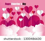 valentines day card with hearts.... | Shutterstock .eps vector #1300486630