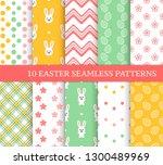 ten different easter seamless... | Shutterstock .eps vector #1300489969