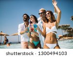group of friends having fun on... | Shutterstock . vector #1300494103