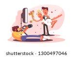 wedding photographer shoots on... | Shutterstock .eps vector #1300497046