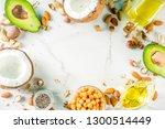 healthy vegan fat food sources  ... | Shutterstock . vector #1300514449