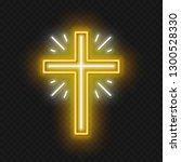 church cross neon sign. glowing ... | Shutterstock .eps vector #1300528330