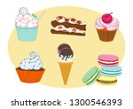 delicious dessert pattern | Shutterstock .eps vector #1300546393