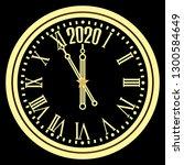 christmas golden clock chimes... | Shutterstock .eps vector #1300584649