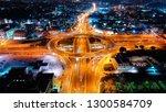 aerial drone night slow shutter ... | Shutterstock . vector #1300584709