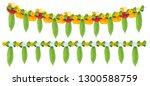 indian flower garland of mango... | Shutterstock . vector #1300588759