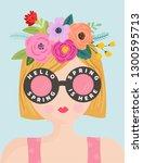 hello spring romantic banner... | Shutterstock .eps vector #1300595713