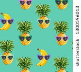 pineapple and banana funny... | Shutterstock .eps vector #1300596013