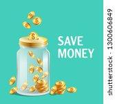 glass jar with cap  moneybox... | Shutterstock .eps vector #1300606849