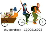 minimalists couple on a tandem... | Shutterstock .eps vector #1300616023