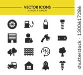 industry icons set with gas ...