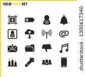 interface icons set with black...
