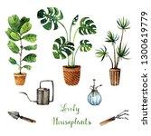 watercolor illustration  lovely ... | Shutterstock . vector #1300619779