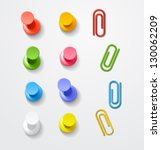 color pins and clips collection | Shutterstock .eps vector #130062209