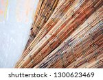 crinkled bamboo fence texture... | Shutterstock . vector #1300623469