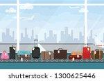 conveyor belt in airport hall.... | Shutterstock .eps vector #1300625446