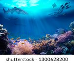 underwater view of the coral... | Shutterstock . vector #1300628200