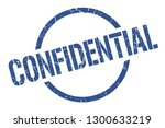 confidential blue round stamp | Shutterstock .eps vector #1300633219