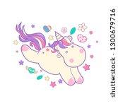 kawaii cute unicorn sflies and... | Shutterstock .eps vector #1300679716