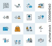 traveling icons colored line... | Shutterstock .eps vector #1300684060