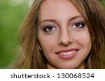 face of a beautiful girl closeup horizontal - stock photo