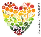 heart of color fruits and... | Shutterstock . vector #1300690993