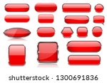 red glass buttons. collection... | Shutterstock .eps vector #1300691836