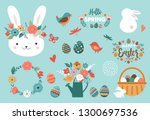 happy easter card   cute bunny  ... | Shutterstock .eps vector #1300697536
