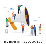 big megaphone with a small... | Shutterstock .eps vector #1300697596