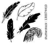 feather vector  silhouette | Shutterstock .eps vector #130074410