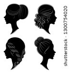 collection. silhouette of the... | Shutterstock .eps vector #1300754020