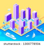 isometric vector buildings city ... | Shutterstock .eps vector #1300778506