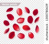 set of falling red rose petals... | Shutterstock .eps vector #1300780639