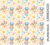 seamless pattern of watercolor... | Shutterstock . vector #1300824220