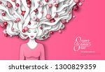 fashion lady with paper cut... | Shutterstock .eps vector #1300829359