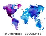 watercolor map of the world... | Shutterstock .eps vector #130083458