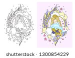 mermaid with dolphin. doodle... | Shutterstock .eps vector #1300854229