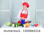 woman pretty chef wear hat and...   Shutterstock . vector #1300864216