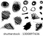 a set hatched grunge spots and... | Shutterstock .eps vector #1300897636