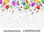 confetti background with party...   Shutterstock .eps vector #1300902439
