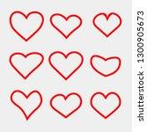 set of vector heart icons.... | Shutterstock .eps vector #1300905673