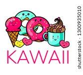 kawaii cafe. various cute food. ... | Shutterstock .eps vector #1300935010