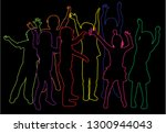 group of children's silhouettes. | Shutterstock .eps vector #1300944043