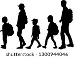 silhouette family on a walk. | Shutterstock .eps vector #1300944046