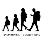 silhouette family on a walk. | Shutterstock .eps vector #1300944049